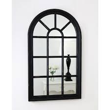 arabella black arched window mirror