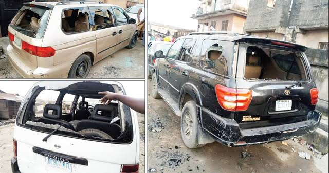 Image result for Hoodlums vandalise 200 vehicles during Lagos clash""
