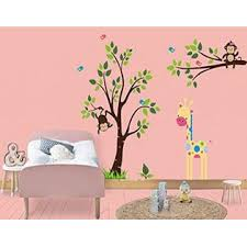 Nursery Wall Decals Tall Giraffe Decal Large Big Tree Nursery Sticker Baby Room Decals Branch And Monkey Birds Nature Themed Wildlife