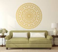 Gold Mandala Vinyl Wall Decal Master Bedroom Decor Large Etsy