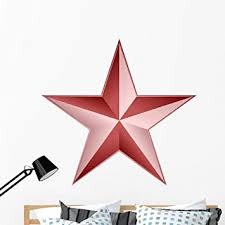 Amazon Com Wallmonkeys Red Star Wall Decal Peel And Stick Graphic 48 In H X 48 In W Wm213149 Furniture Decor