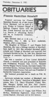 Obituary - Flossie Hamilton Hewlett - Newspapers.com