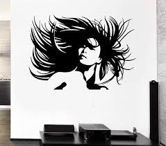 Vinyl Decal Beautiful Woman Portrait Crazy Hair Salon Wall Sticker Sex Wallstickers4you