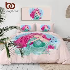Beddingoutlet Mermaid Girls Bedding Set Cartoon Duvet Cover For Kids Pink Bedspreads Marine Seashell Home Textiles 3 Piece Twin Bedding Sets Aliexpress