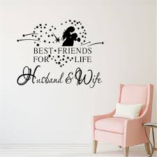 Heart Best Friends For Life Husband Wife Wall Decal Quote Romantic Sticker Decor