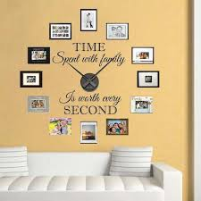 Real Family Clock Wall Decal Clock Stickers For Walls Trendy Wall Designs Family Wall Clock Wall Decals Living Room Wall Decal Clock