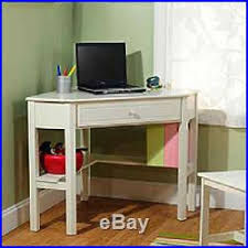 Corner Desk Antique White Kids Teen Room Dorm Space Saver Computer Workstation