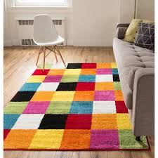 Modern Squares Multi Geometric Area Rug 8x10 7 10 X 10 6 Abstract Checkerborad Boxes Bright Living Kid Roomplayroom Nursery Bedroom Carpet Soft Durable Stain Fade Resistant Shed Free Easy Clean