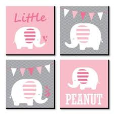 Pink Baby Elephant Kids Room Nursery Decor And Home Decor 11 X 11 Inches Nursery Wall Art Set Of 4 Prints For Baby S Room Walmart Com Walmart Com