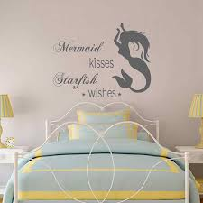 Battoo Little Mermaid Wall Decal Personalized Girls Name Mermaid Girl Nursery Wall Art Decor Personalized Mermaid Decal Girls Bedroom Wall Decor Christmas Supplies