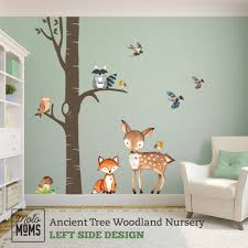 Woodland Nursery Wall Decor Ancient Tree Fox Owl Deer Birds Wall Decal Motomoms Decor