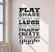 Amazon Com Wall Decal Playroom Rules 38x22 Poster Children Room Sign Nursery Quote Inspirational Christmas Idea Vinyl Sticker Play Game Room Home Child Baby Kids Bedroom Decor Wall Art Mural Print 831 Arts