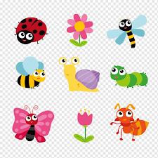 Ilustraciones En Colores Surtidos De Insectos Insecto Mariposa
