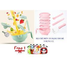 Bộ chế biến đồ ăn dặm kiểu Nhật cho bé 9 dụng cụ +quà tặng (yếm ...