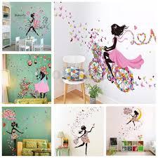 Flower Girl Removable Wall Art Sticker Vinyl Decal Kids Room Home Mural Decor Us Home Garden Home D Girls Room Decor Wall Decals For Bedroom Art Wall Kids