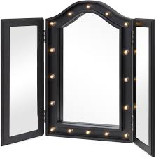 tri fold mirror with lights baser