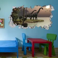 Brachiosaurus Dinosaur Sunset Broken Wall Decal 3d Wallpaper Wall Decal 3d Wall Decals 3d Printed 3d Wall Art Sold By Moonwallstickers Com On Storenvy