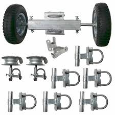 Chain Link Rolling Gate Kit Track Brackets Guides Rollers Wheel