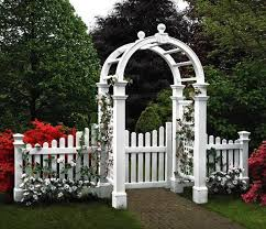 Beautiful Design Of Vinyl Arbor With Gate Vinyl Arbor With Gate New England Arbors Pergola Garden Garden Gates