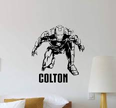 Atopdecals Personalized Name Iron Man Wall Decal Avengers Comic Superhero Nursery Baby Quote Boy Superhero Nursery Wall Decal Boys Room Wall Stickers Usa
