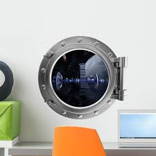 Amazon Com Wallmonkeys Spacecraft Space Porthole Wall Decal Peel And Stick Decals For Boys 18 In H X 18 In W Wm313367 Home Kitchen