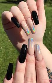 25 Most Impressive Ombre Black Long Acrylic Coffin Nails : Create Your Best  Impression Today (With images)   Long nails, Black nails, Holo nails