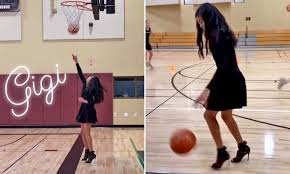 daughter Gianna shows basketball skills ...