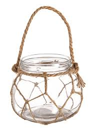 hanging glass vase with hemp rope