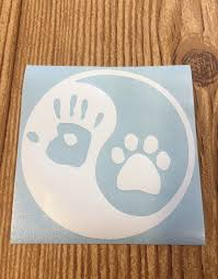 Yin And Yang Hand Print Paw Print Vinyl Decal Sticker Car Decal Yeti Sticker Water Bottle Sticker Custom Vinyl Stickers Yeti Stickers Vinyl Decal Stickers