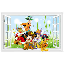 Halloween Anime Wall Decals Mickey Minnie Mouse Donald Duck Fake 3d Window Stickers Kids Room Decoration Vinyl Wallpaper 90 60cm Buy At The Price Of 4 83 In Aliexpress Com Imall Com