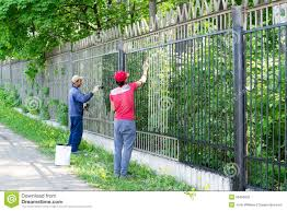 Two Workers Painting A Metal Fence Editorial Image Image Of Improvement Mixed 55489560