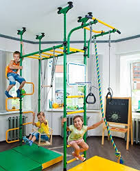 Amazon Com Pegas Children S Indoor Home Gym Swedish Wall Playground Set Gymnastic Ladder Horizontal Bar Moving Gymnastic Rings Trapeze Climbing Rope Hole Snake Basketball Swing Gyms Climber Toys Games
