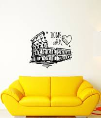 Vinyl Wall Decal Italy Rome With Love Colosseum Words Stickers 4025ig Wallstickers4you