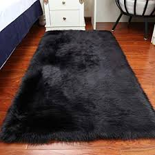 huahoo 5 x 7 black faux fur sheepskin
