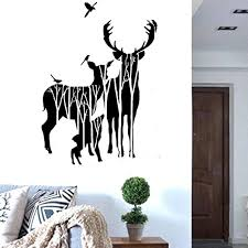 Amazon Com Bibitime Forest Silhouette Deer Wall Decal Animal Birds Elk Vinyl Stickers For Living Room Porch Bedroom Kids Room Decor Nursery Classroom Home Art Mural Tv Background Pvc Decorations Home Kitchen