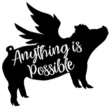 Amazon Com Anything Is Possible Pigs Fly Vinyl Decal Sticker Cars Trucks Vans Suvs Walls Cups Laptops 5 Inch Black Kcd2671b Automotive