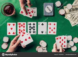 People Playing Poker Casino Table Cards Chips — Stock Photo ...