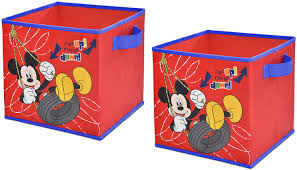 Amazon Com Disney Mickey Mouse Storage Cubes Set Of 2 10 Inch Toys Games