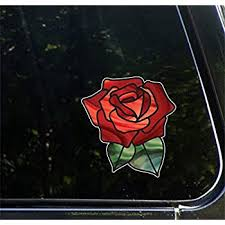Amazon Com Red Rose Car Bumper Sticker Window Decal 5 X 3 Automotive