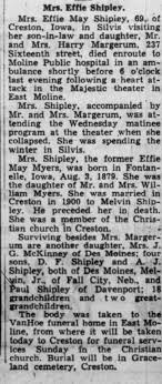 Obituary for Effie May Shipley (Aged 69) - Newspapers.com