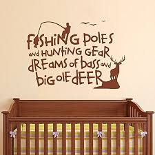 Fishing Wall Decal Quotes Fishing Poles And Hunting Gear Dreams Of Bass And Big Ole Deer Living Room Baby Nursery Vinyl Wall Sticker Black 15 5 H X22 W Hunting Magazine Deer Hunting