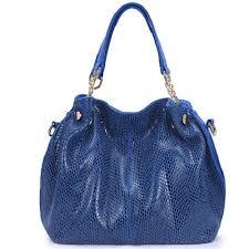 genuine cow leather handbag blue