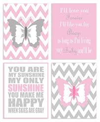 Amazon Com The Kids Room By Stupell Pink And Grey Chevron Butterfly Typography 4 Pc Rectangle Wall Plaque Set Proudly Made In Usa Baby
