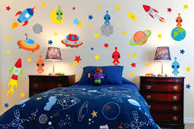 22 Space Themed Room Design Ideas For A New Atmosphere In Your Home In 2020 Themed Kids Room Space Themed Bedroom Kids Room Wall Stickers