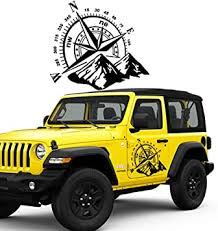 Amazon Com Fochutech Car Decals Compass With Mountain Jeep Stickers Waterproof Vinyl Hood Decal Car Window Stickers Auto Graphics Body Side 1 Pcs Car Stickers For Jeep Wrangler Suv Ford Decoration Black Automotive