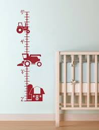 Farm Tractor Height Growth Chart Ruler Wall Decal Sticker For Boys Farm Wall Decals Growth Chart Wall Decals