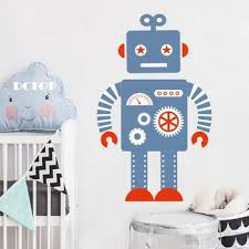Diy Blue Robot Cartoon Nursery Wall Decal Boys Room Art Decor Sticker Bedroom Decor Sticker For Kids Rooms Furniture Stickers Nurul Ayaher35