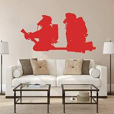 Amazon Com Wall Stickerfirefighter Fireman Wall Sticker Bedroom Playroom Fire Wall Decal Kids Room Living Room Vinyl Decor 56x30cm Kitchen Dining