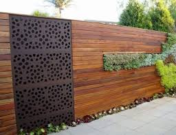 Modern Privacy Screens Wood Metal Combination Succulents Privacy Fence Designs Fence Design Backyard Fences