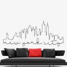 Graffiti Outline Wall Stickers For Living Room Decoration New York Skyline City Wall Decal Vinyl Art Graphic Office Decor Y411 Wall Stickers Aliexpress